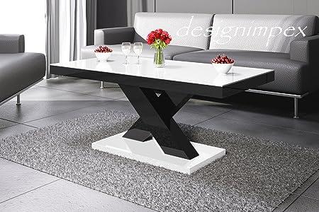 Design Couchtisch H-888 Weiß / Schwarz Hochglanz Highgloss Tisch Wohnzimmertisch