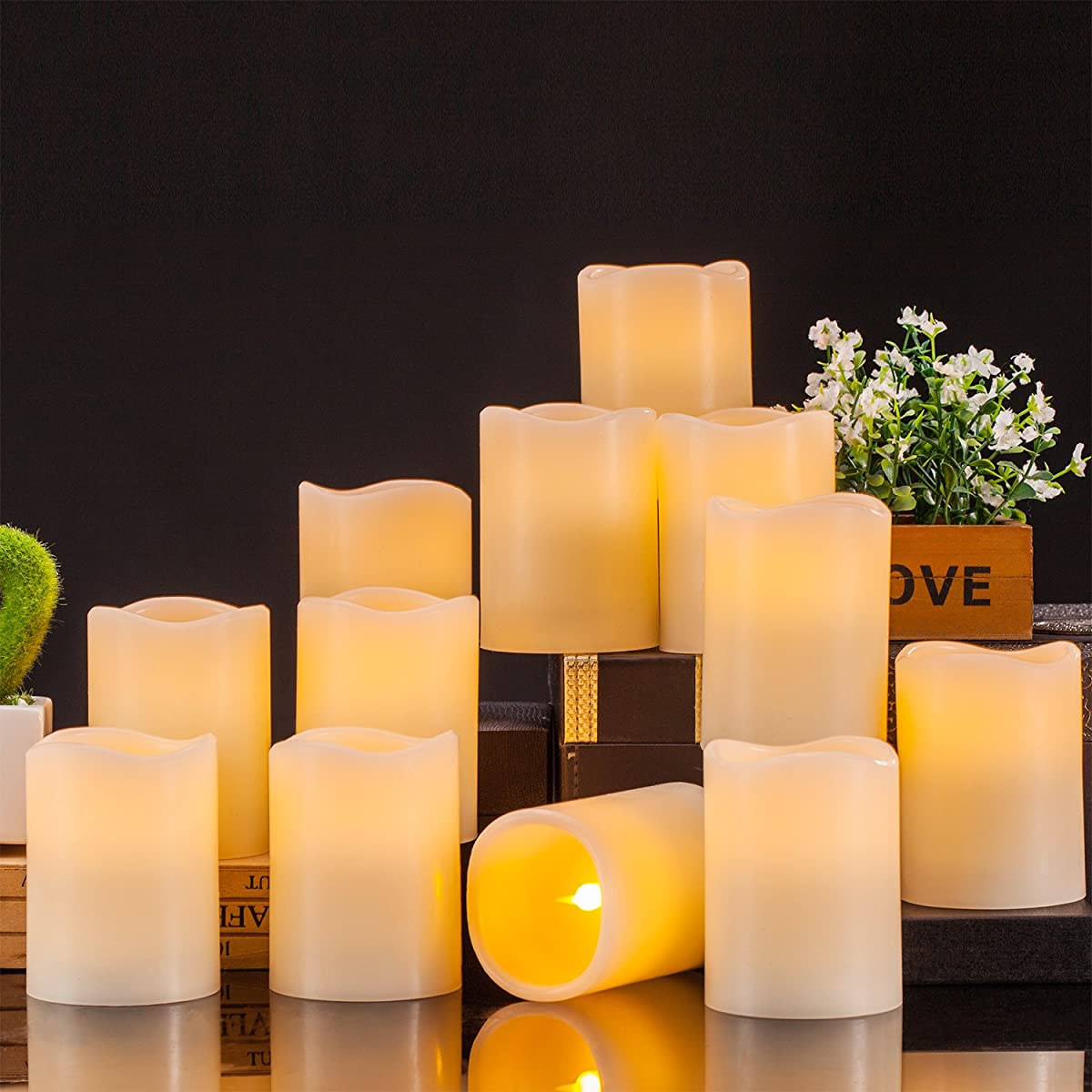 """Enpornk Flameless Candles Battery Operated LED Pillar Real Wax Flickering Electric Unscented Candles with Remote Control Cycling 24 Hours Timer, 3""""x4"""" Set of 12"""
