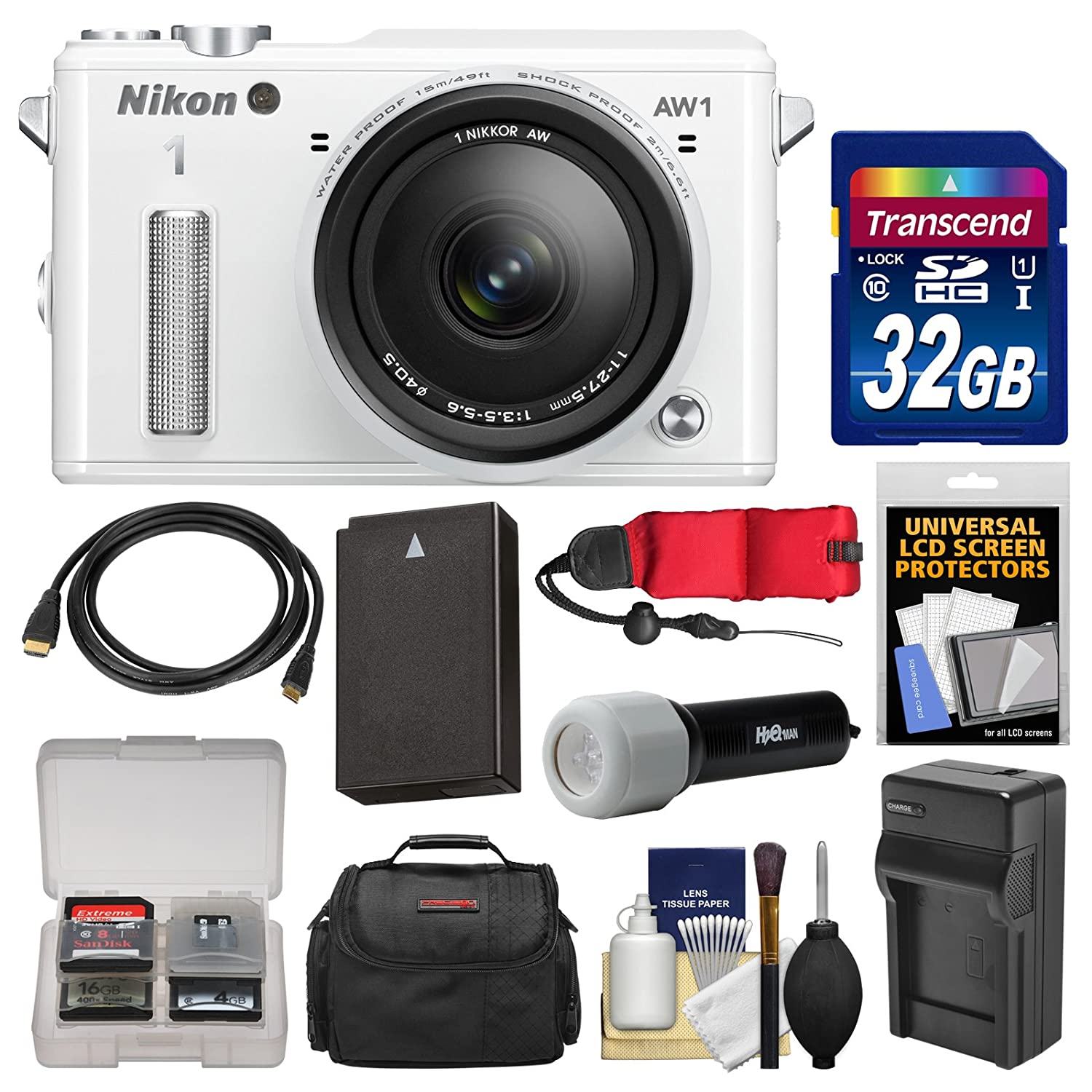 Nikon 1 AW1 Shock & Waterproof Digital Camera Body with AW 11-27.5mm Lens (White) with 32GB Card + Case + Battery & Charger + LED Torch + Kit