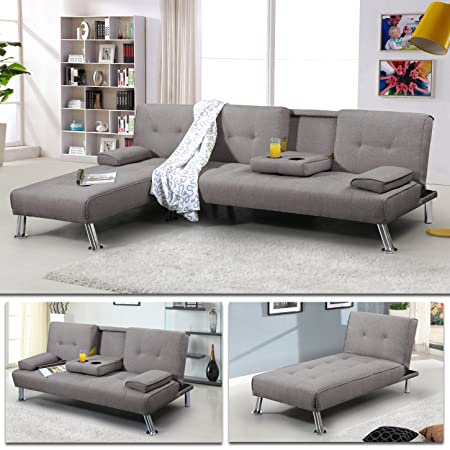 """Schlafsofa """"Oxford"""" Ecksofa Lounge Sofa Stoffsofa Wohnlandschaft (Grau)"""