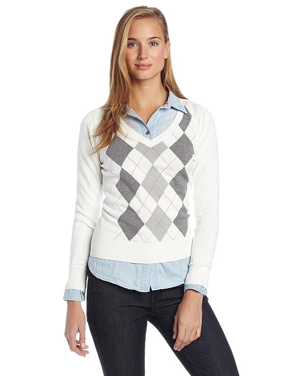 Caribbean Joe Women's Petite Argyle Sweater