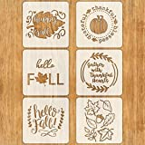 6 PCS Fall Stencils for Painting on Wood 12 Inches Reusable Floor Tile Stencil for Thanksgiving Decor Fabric Canvas Wall Painting Templates (Color: 6PCS Fall Thanksgiving Stencils 12x12 IN)