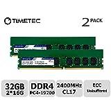 Timetec Hynix IC 32GB KIT (2x16GB) DDR4 2400MHz PC4-19200 Unbuffered ECC 1.2V CL17 2Rx8 Dual Rank 288 Pin UDIMM Server Memory RAM Module Upgrade (32GB KIT (2x16GB)) (Tamaño: 32GB KIT(2x16GB))