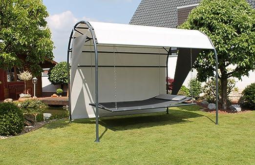 Dreams4Home Oasis de relajación 'Relax',-Tumbona, Tumbona, Tumbona para Jardín singlelliege, con parasol, parasol, uberdachung, (B/L) aprox. 200x 300cm, Jardín, en antracita/gris claro.