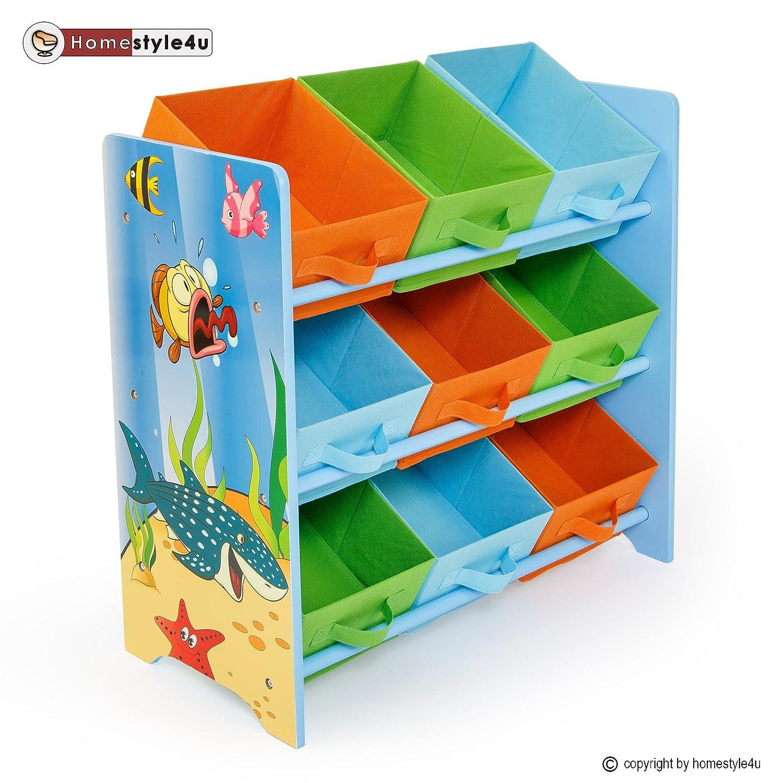 Homestyle4u Kinderregal Spielzeugbox Spielzeugkiste Kindermöbel Regal Kinder Aufbewahrung günstig kaufen