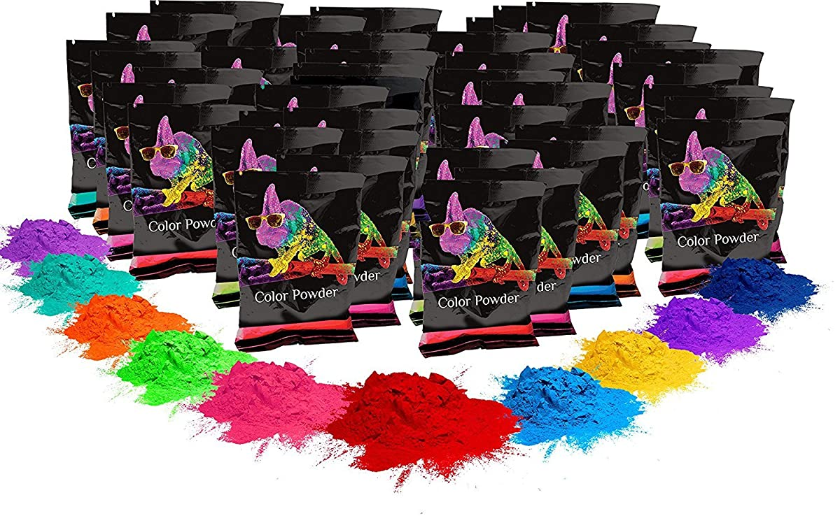 Holi Color Powder- 100 pack. 70g each. 10 of each color. Red, Yellow, Navy Blue, Green, Orange, Purple, Pink, Magenta, True Blue, Aquamarine Chameleon Colors