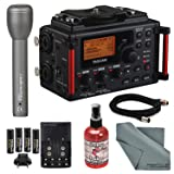Tascam DR-60DmkII 4-Channel Portable Recorder for DSLR Bundle with Handheld Mic+Mic Sanitizer+Battery &Charger+ FiberTique Cloth (Tamaño: Pro)