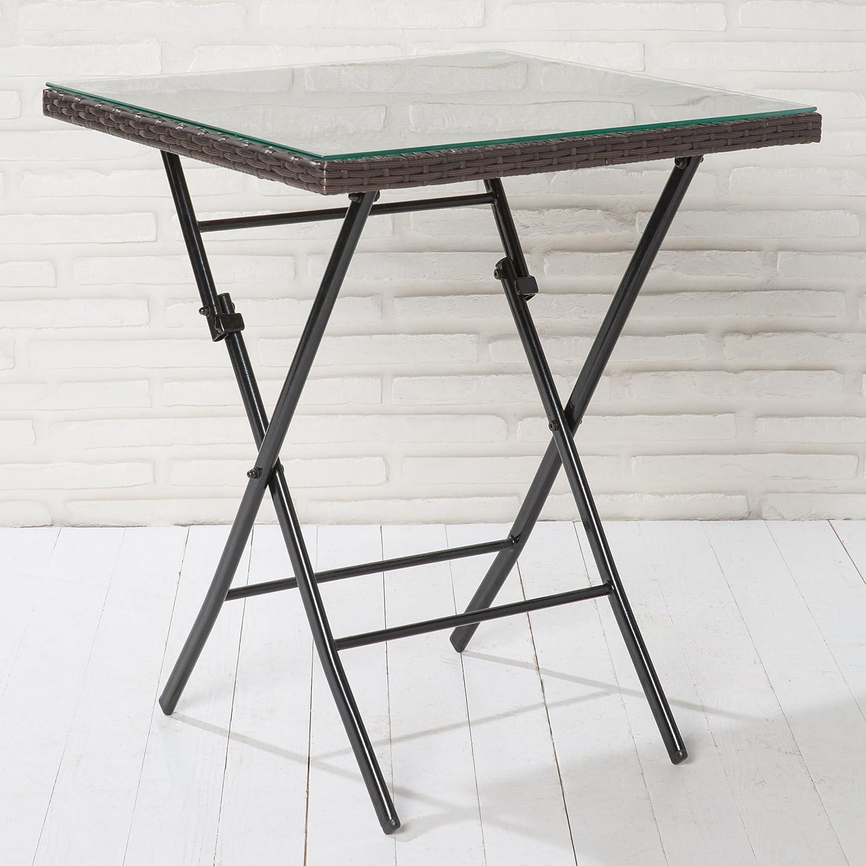 Klapptisch Gartentisch Poly Rattan braun mit Klarglasplatte Tisch klappbar günstig online kaufen
