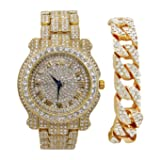 Bling-ed Out Round Luxury Mens Watch w/Bling-ed Out Cuban Bracelet - L0504B - Cuban Gold/Gold (Color: gold, Tamaño: mens)
