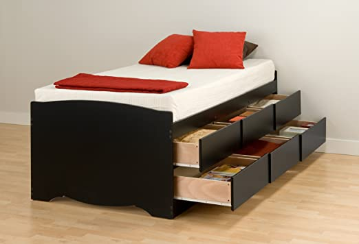 Prepac Sonoma Black Tall Twin/Mates Platform Storage Bed (6-drawers)