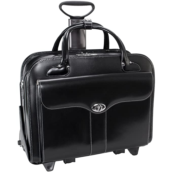 McKlein USA Berkeley Leather Rolling Laptop Tote EXCLUSIVE (Black)
