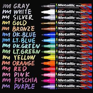 Sunshilor Metallic Markers Paint Pens, Medium Point Paint Markers Metallic Marker Pens for Black Paper, Glass, Wood, Fabric, Rock Painting, Card Makin