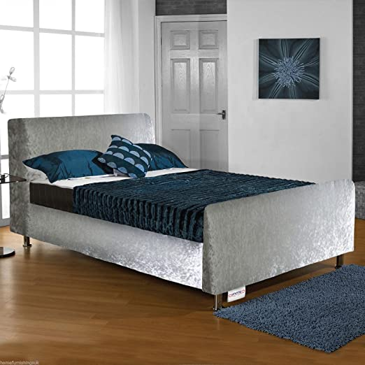"Hf4you Roma Crushed Velvet Bed Frame - 4FT Small Double - Silver - 6"" Memory Foam Mattress"