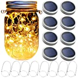 Mason Jar Solar Lantern Lights, 8 Pack 30 LED Bulbs Fairy Star Firefly Solar Lids Jar Lights,8 Hangers Included(No Jars),for Patio Garden Mason Jar Lanterns Table Wedding Decorations Lights (Color: 8 Pack-30 LEDs (No Jar))