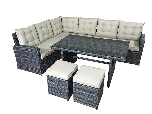 Giardino Lounge Set la palma in grigio, Angolo in polyrattan, gruppo