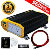 KRIËGER 1100 Watt 12V Power Inverter Dual 110V AC Outlets, Installation Kit Included, Automotive Back Up Power Supply For Blenders, Vacuums, Power Tools MET Approved According to UL and CSA. (Tamaño: 1100W Inverter)
