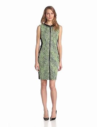 ELIE TAHARI Women's Mila Electric Tweed Sheath Dress, Margarita Multi, 4