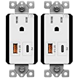 TOPGREENER USB Outlet with Type-C Power Delivery Port and Quick Charge 3.0 USB Port, 15A TR Receptacle, for iPhone 8/X/XS/XR, iPad Pro, iPad Mini 4, Google Pixel, Samsung Galaxy, TU115QC3PD, 2-Pack
