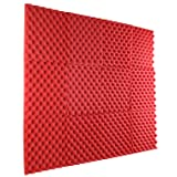 12 Pack - All Red Acoustic Panels Studio Foam Egg Crate 1