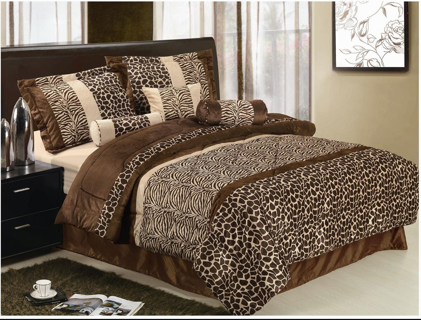piece safari zebra giraffe print brown micro fur comforter set