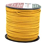 Mandala Crafts 100 Yards 2.65mm Wide Jewelry Making Flat Micro Fiber Lace Faux Suede Leather Cord (Goldenrod) (Color: Goldenrod)