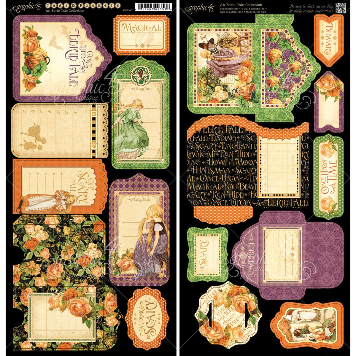Graphic 45 An Eerie Tale Tags and Pockets Paper Crafting Embellishments jamo graphic
