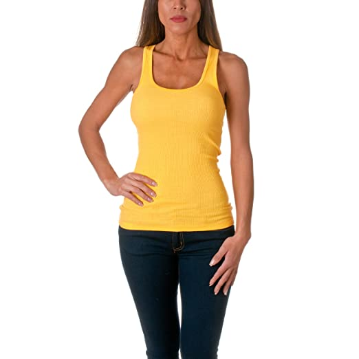 Sofra Women's Tank Top Cotton Ribbed-Large-Yellow