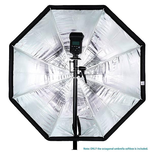 NEEWER 32 PULGADAS/80 CENTÍMETROS PARAGUAS OCTOGONAL, Softbox con bordes rojos y bolsa de transporte para fotografía de retratos o productos, adecuado para Canon Nikon Sony Speedlite, Flash de estudio (negro/rojo)
