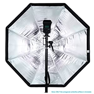 Neewer 47 inches/120 centimeters Octagonal Softbox Umbrella with Red Edges and Carrying Bag for Portrait or Product Photography, Suitable for Canon Nikon Sony Speedlite, Studio Flash (Black/Red) (Color: Black+Red, Tamaño: 120cm)