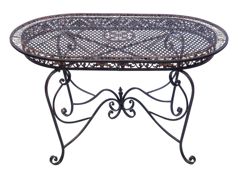 Gartentisch 135cm Eisen Tisch Schmiedeeisen Gartenmöbel braun antik Stil online kaufen