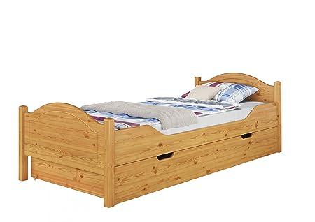 Massivholz-Bett Kiefer natur 100x200 Einzelbett Rollrost Matratze Bettkasten 60.30-10 M S4