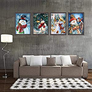 4 Pack 5D Full Drill Diamond Painting Kit, KISSBUTY DIY Diamond Rhinestone Painting Kits for Adults and Beginner Embroidery Arts Craft Home Decor, 15.8 X 11.8 Inch (Christmas Snowman Diamond Painting) (Color: Christmas Snowman)