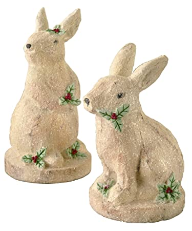 Ivory Christmas Bunny Figurine Assortment - Set of 4 by Grasslands Road