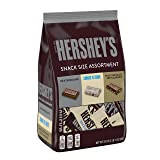 HERSHEY'S Chocolate Candy, Halloween Candy, Snack Size Assortment (Milk Chocolate, with Almonds, Cookies n' Creme) 33 Ounce Bulk Candy