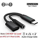 MOTO Z Audio Charge Adapter Cable, LIOOTECH 2 in 1 USB C to 3.5mm Headphone Motorola Moto Z [ NOT Fit for HTC U11 Pixel 2/2XL ] (Color: Black adapter)