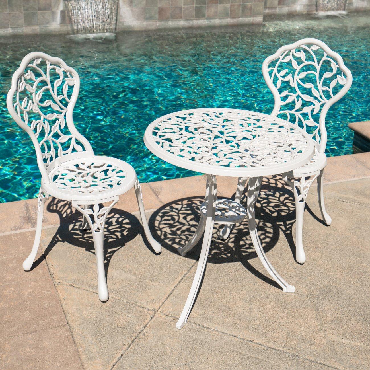 Belleze Outdoor Patio Furniture Leaf Design Bistro Set in Antique White 1