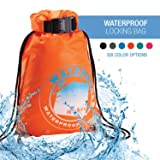 Lewis N. Clark WaterSeals Cinch Drawstring Backpack Women & Men Anti-Theft Combination Lock + Ripstop Waterproof Material to Protect Wallet iPhone + Valuables at The Beach Pool Sports Camping, Orange (Color: Orange, Tamaño: One Size)