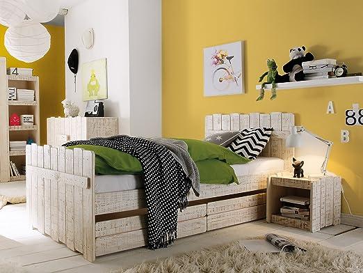 massivum Bett Safari 90x200cm Pinie weiß lackiert