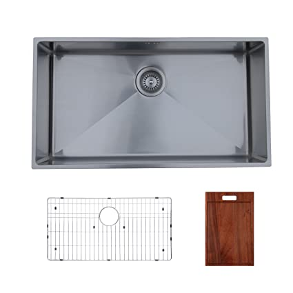 Ukinox RS838.GC Modern Undermount Single Bowl Stainless Steel Kitchen Sink with Bottom Grid & Cutting Board