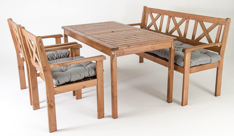 GARDENho.me Nordische Gartenmöbel Massivholz Sitzgarnitur EVJE inkl. Kissen Tischgruppe Braun