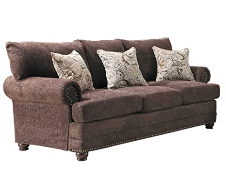 Homelegance 9729-3 Elena Sofa, Dark Brown Chenille