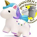 Squishies – Unicorn Gifts - Jumbo Squishies Slow Rising - Mochi Mini Squishy Toys - Sensory Fidget Toys – Soft and Slow Squishies pack - Kawaii Squishy Animal Stress Toys - Gold Toy Unicorn for Girls (Tamaño: Premium)