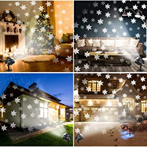 Christmas Projector Lights LED Snowflakes Waterproof Landscape Spotlight Lamp with Remote Control Rotatable White Snow and Base Garden Stake Light for Indoor Outdoor Halloween Xmas Wedding Home Party (Color: Snowflake Projector)