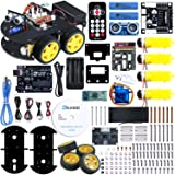 ELEGOO UNO Project Smart Robot Car Kit V 3.0 with UNO R3, Line Tracking Module, Ultrasonic Sensor, IR Remote Control Module etc. Intelligent and Educational Toy Car Robotic Kit for Kids Teens (Color: V3.0)
