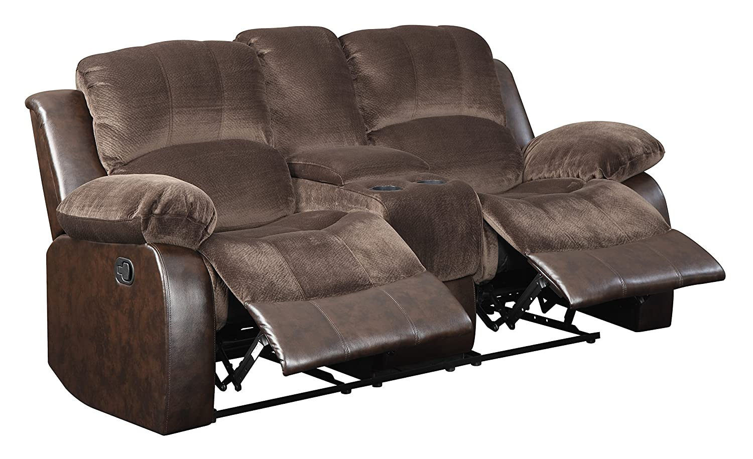 Glory Furniture G875-RL Reclining Loveseat with Console - Brown