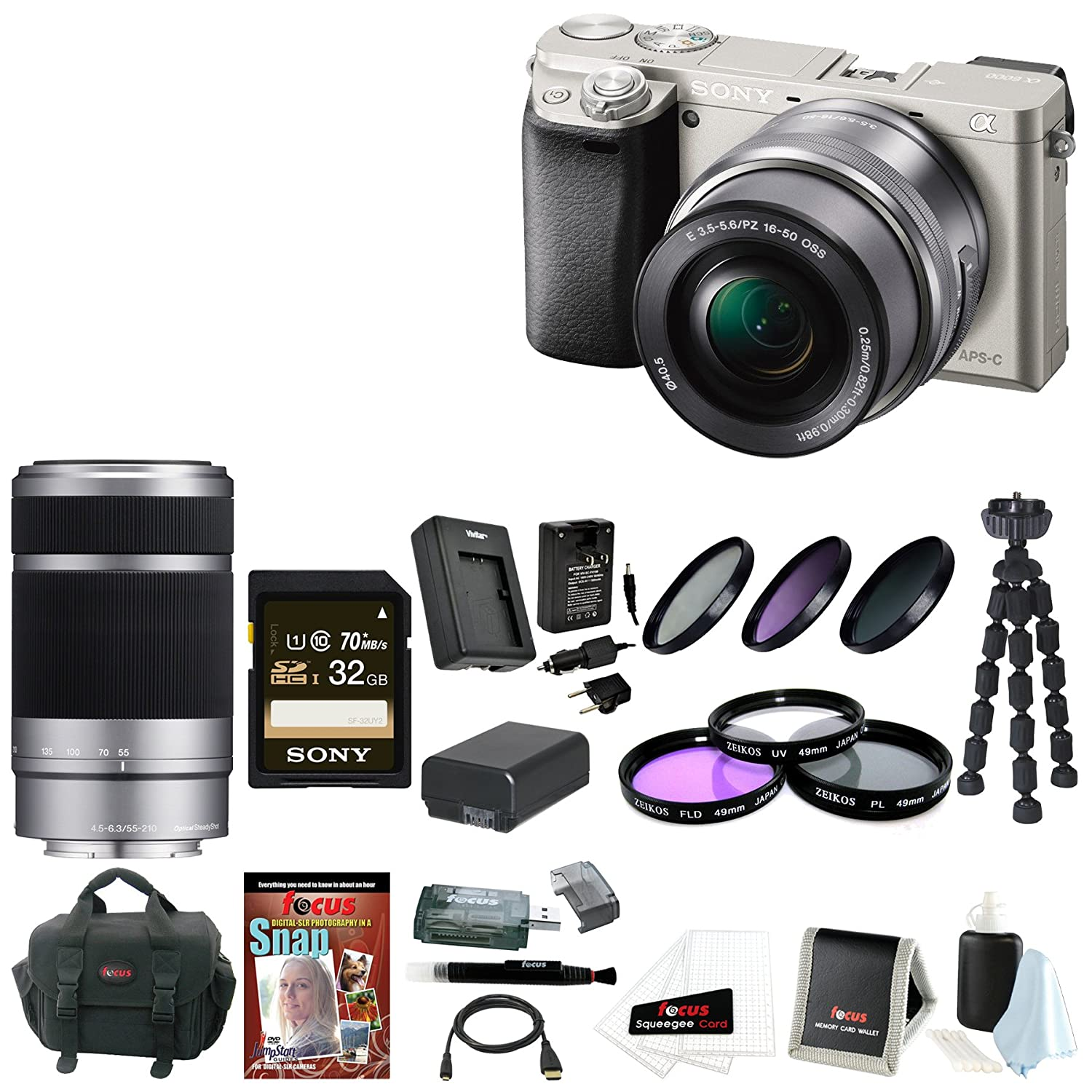 Sony Alpha a6000 ILCE6000LS ILCE6000L/S 24.3 MP Interchangeable Lens Camera with 16-50mm Power Zoom Lens (Silver) with Sony 55-210mm f/4.5-6.3 Telephoto Lens  ..