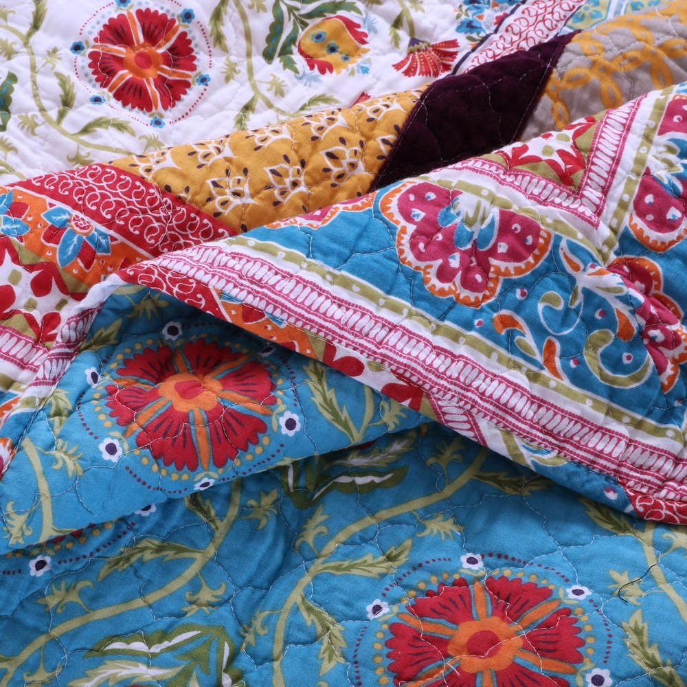 Retro Boho Quilt Set with Shams Print Geometric Floral Pattern Mandala Medallions Blue Red Yellow 100 Cotton Reversible 3 Piece Bedding Double Full Queen - Includes Bed Sheet Straps 4