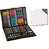 120-Piece Deluxe Art Set - Art Supplies for Drawing, Painting and More in a Plastic Case & Cotton Stretched Canvas - 8
