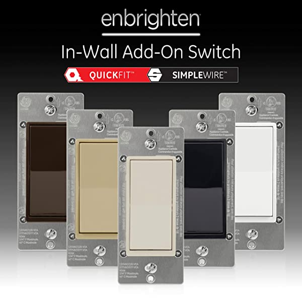 GE Almond Enbrighten Add QuickFit and SimpleWire, in-Wall Paddle, Z-Wave ZigBee Wireless Smart Lighting Controls, NOT A STANDALONE Switch, 47333 (Color: Light Almond)