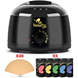 Wax Warmer Hair Remouval Kit - Wax Heater with 5 Hard Wax Beans and 30 Applicator Sticks - Professional and Home Waxing Kit for Women and Men - Body - Face - Bikini Hair Removal (Color: Black)
